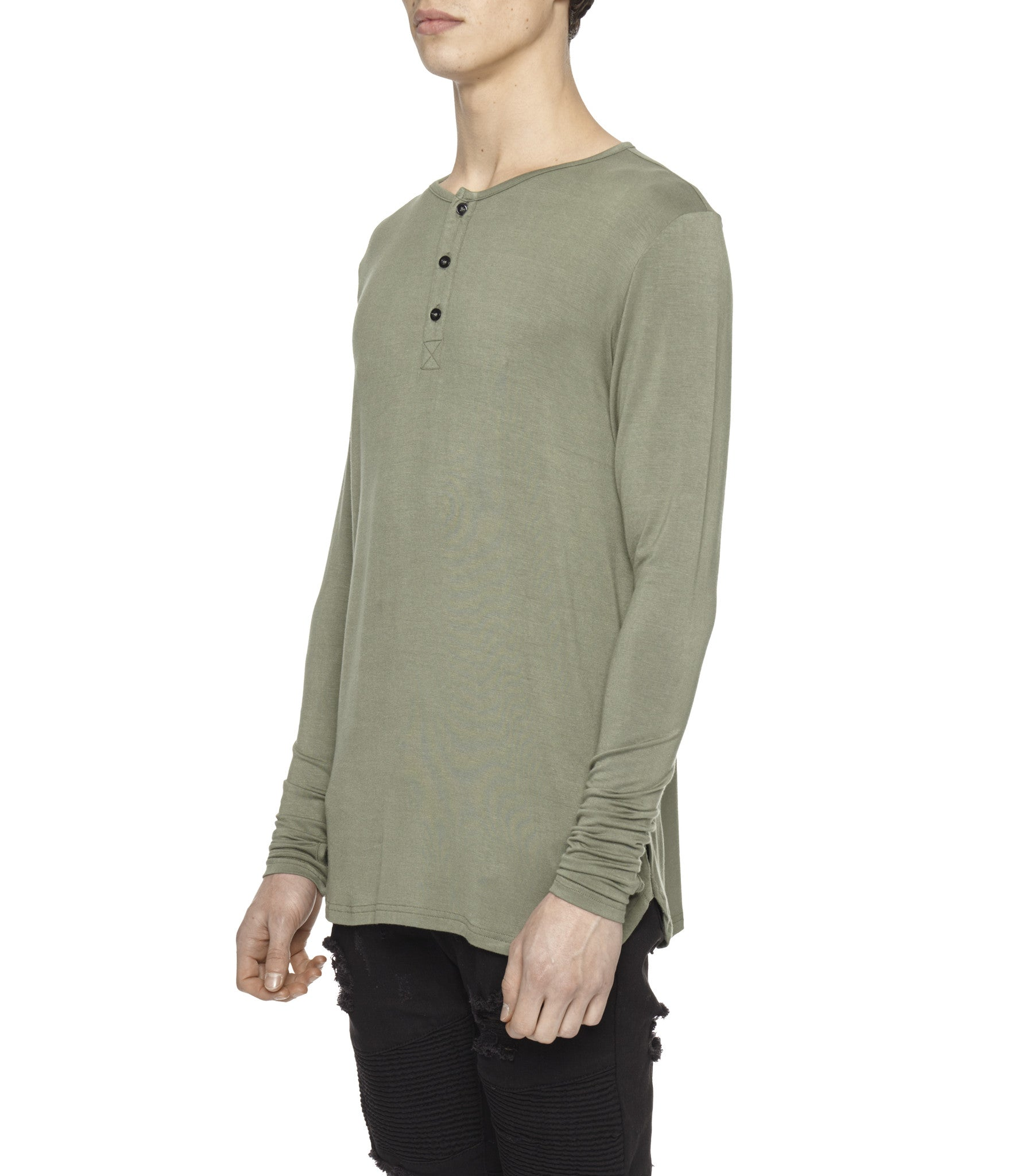 LS264 Under Layer Henley Tee - Khaki - underated london - underatedco - 4