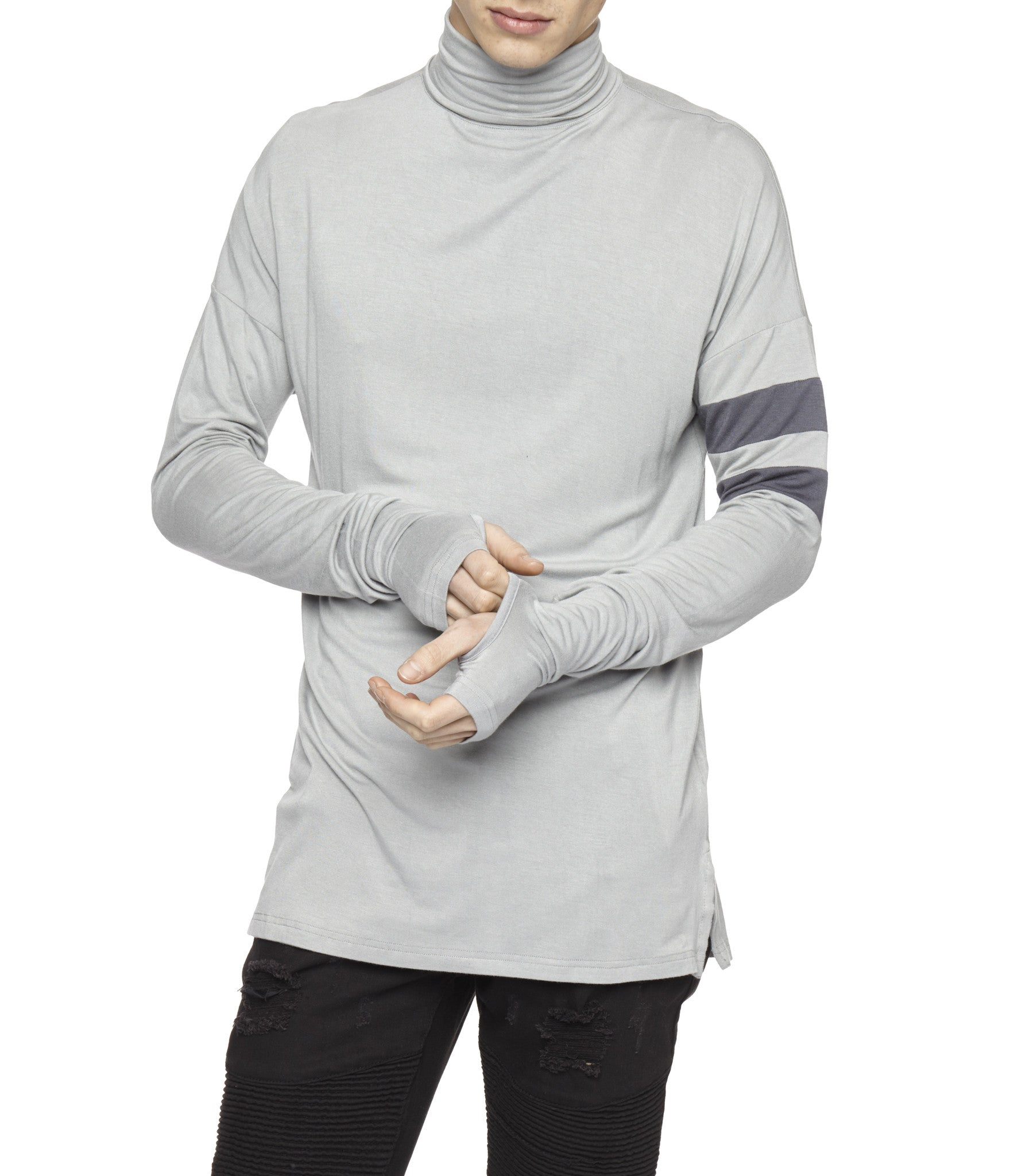 LS105 Roll Neck Under Layer L/S Tee - Ash Grey - underated london - underatedco - 6