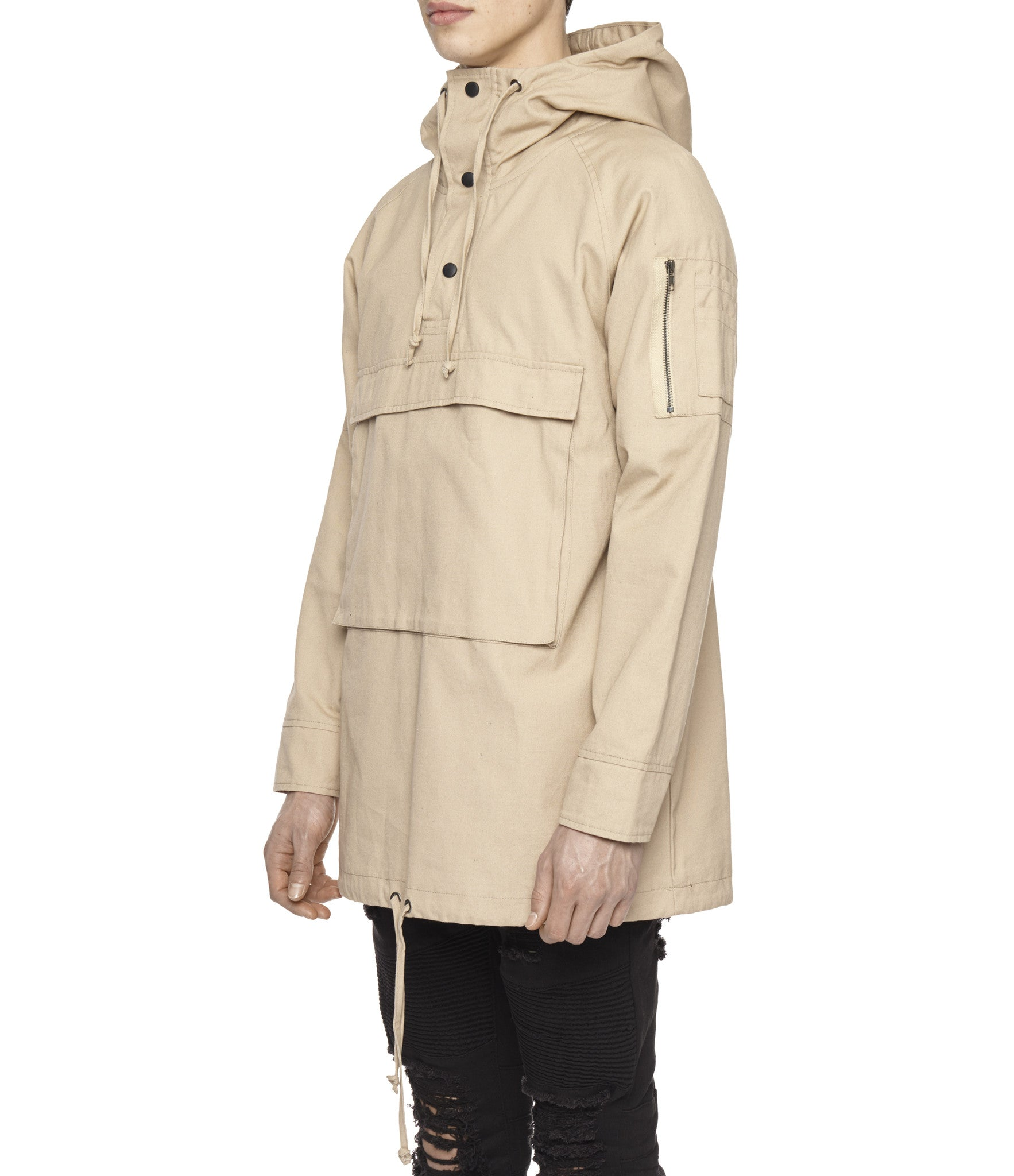 D22 Hooded Pullover Anorak  - Beige - underated london - underatedco - 4