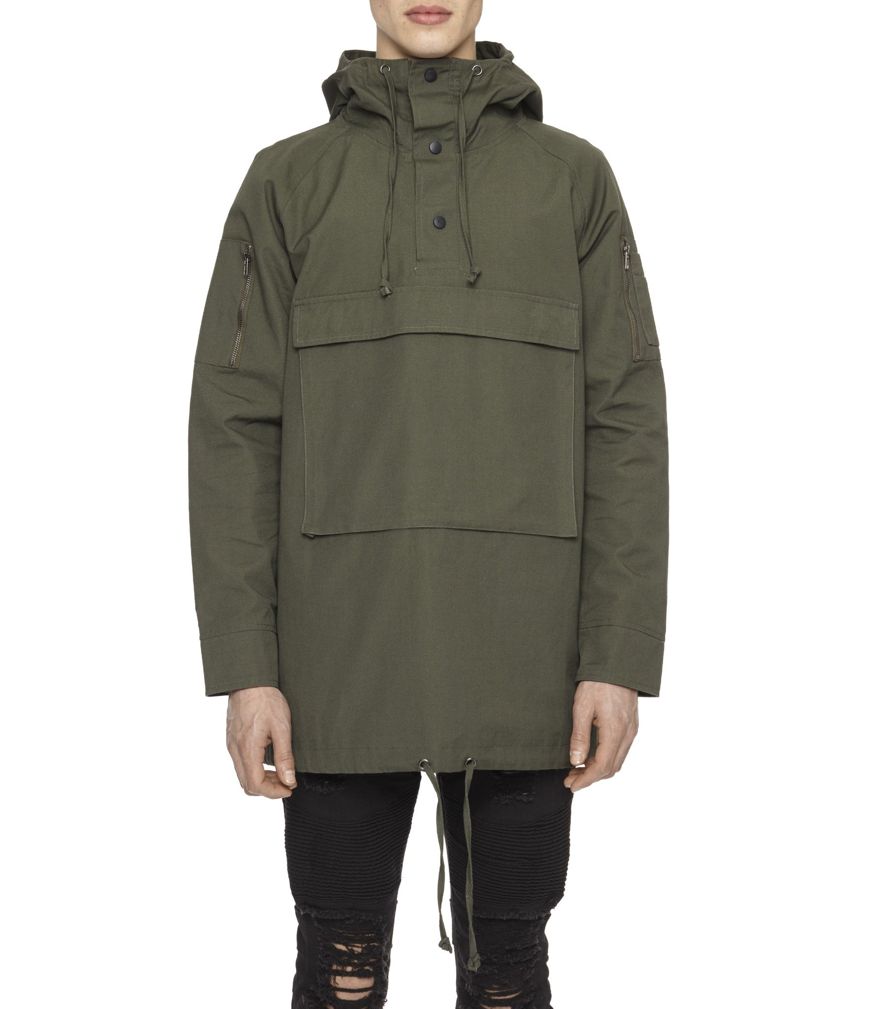 D22 Hooded Pullover Anorak - Military Green - underated london - underatedco - 1