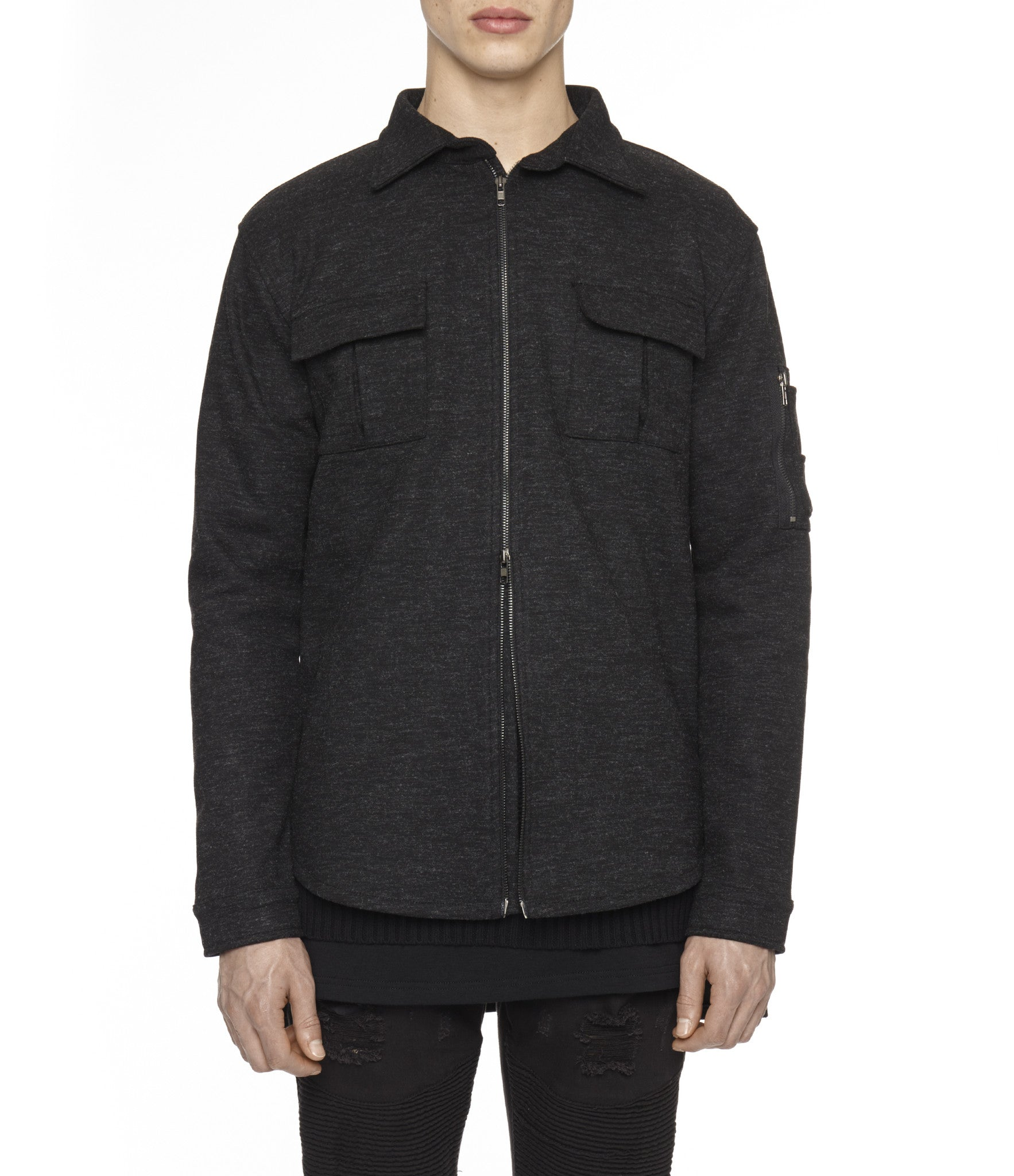 SH238 Wool Blend Utility Shacket - Black - underated london - underatedco - 1