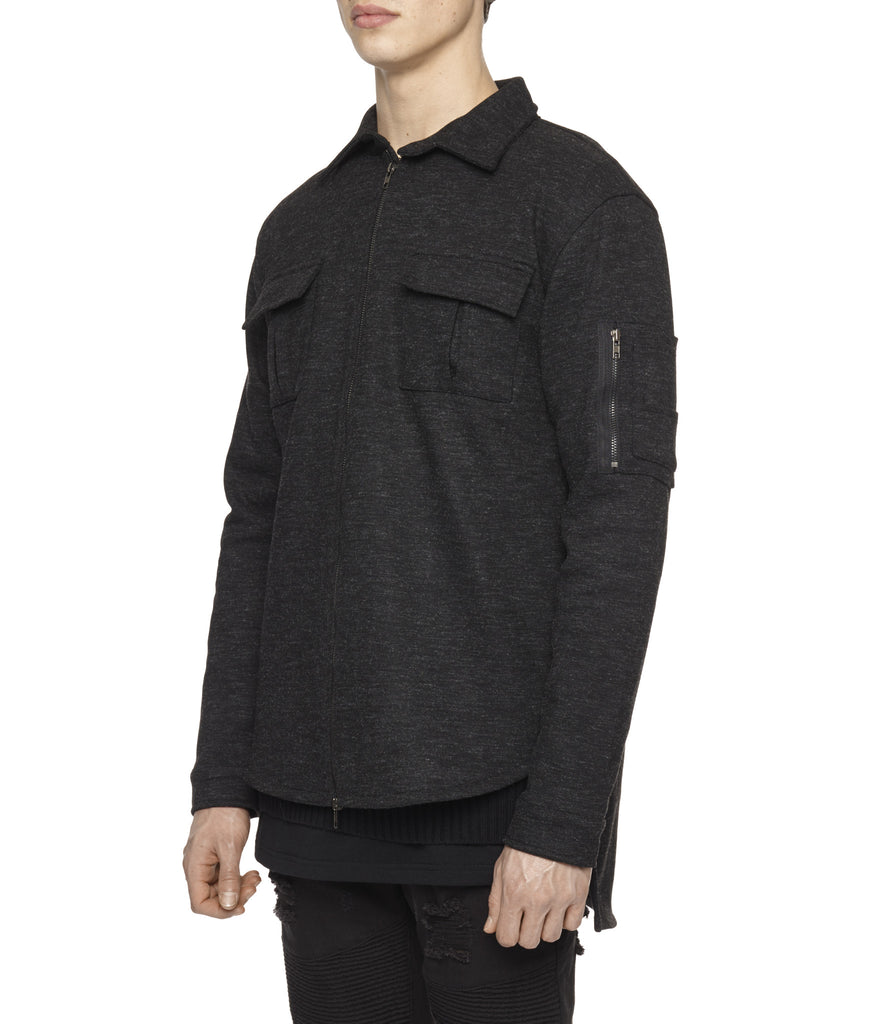 SH238 Wool Blend Utility Shacket - Black - UNDERATED