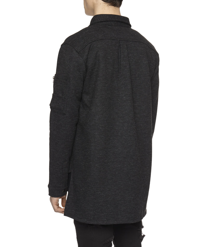 SH238 Wool Blend Utility Shacket - Black - underated london - underatedco - 5