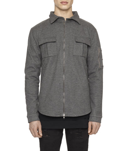 SH238 Wool Blend Utility Shacket - Charcoal - UNDERATED