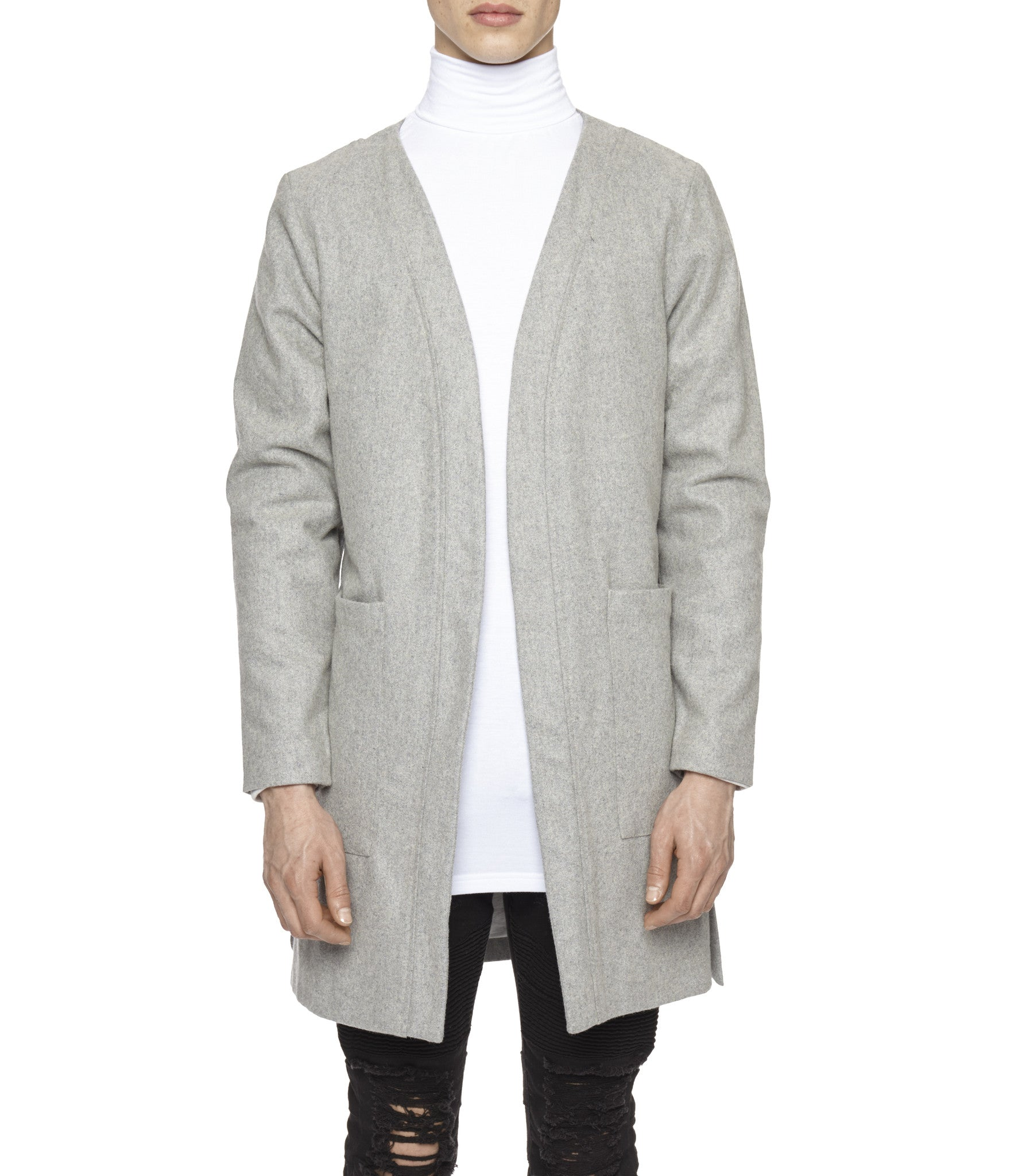 KM070 Wool Blend Kimono Coat - Grey - underated london - underatedco - 3