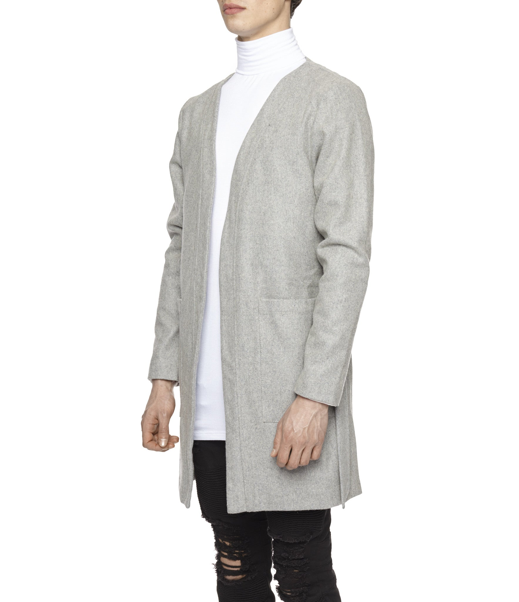 KM070 Wool Blend Kimono Coat - Grey - underated london - underatedco - 4