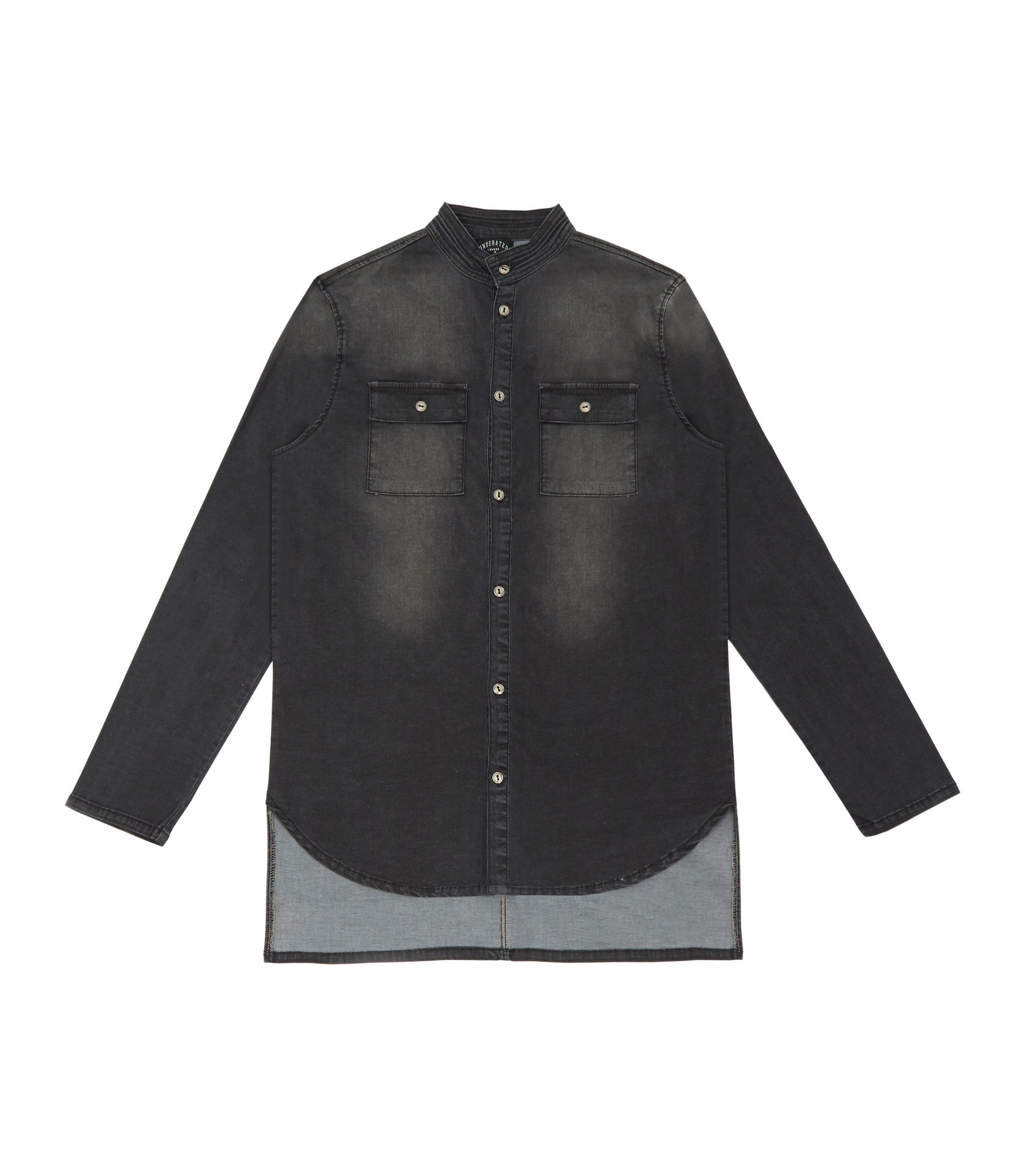 SH152 Stone Wash Denim Shirt - Black - underated london - underatedco - 1