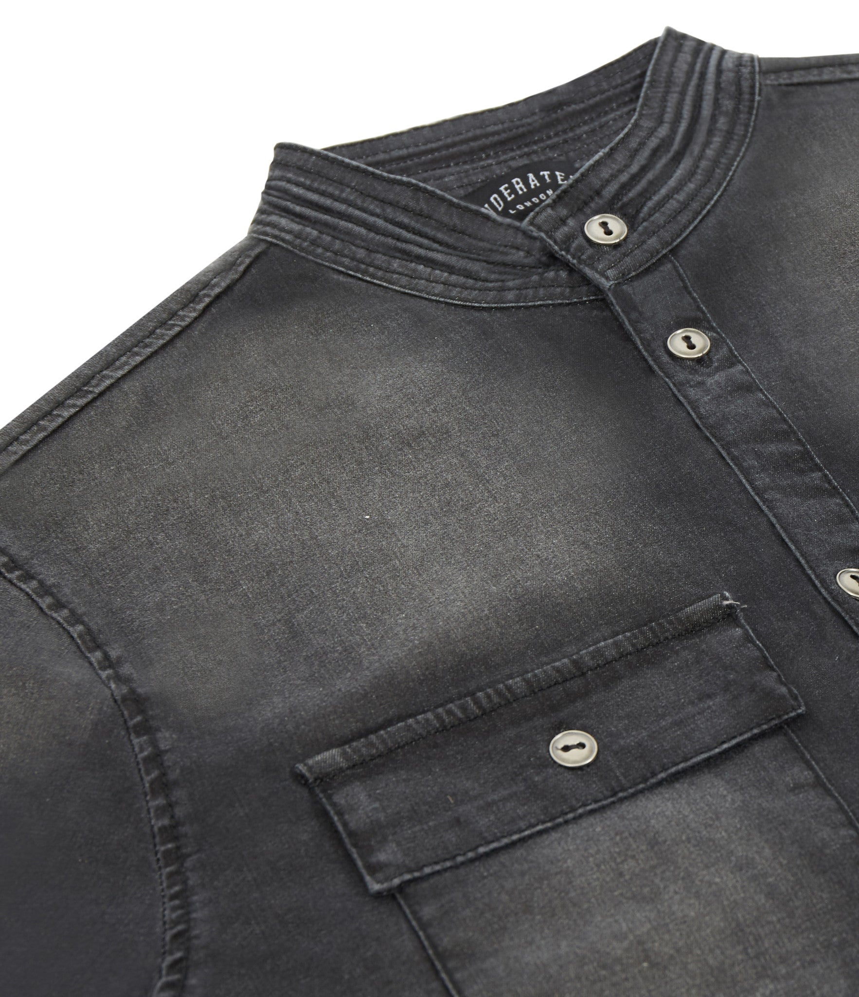 SH152 Stone Wash Denim Shirt - Black - underated london - underatedco - 3