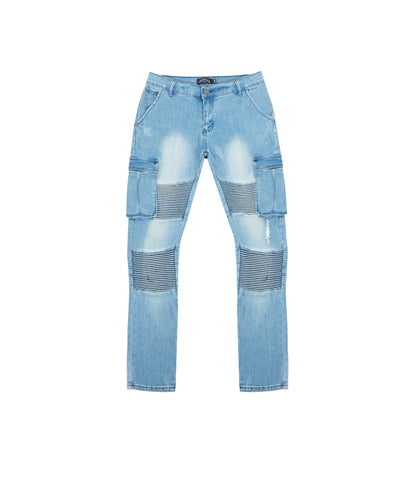 JN151V2 Stone Wash Cargo Biker Denim - Light Blue - underated london - underatedco - 1