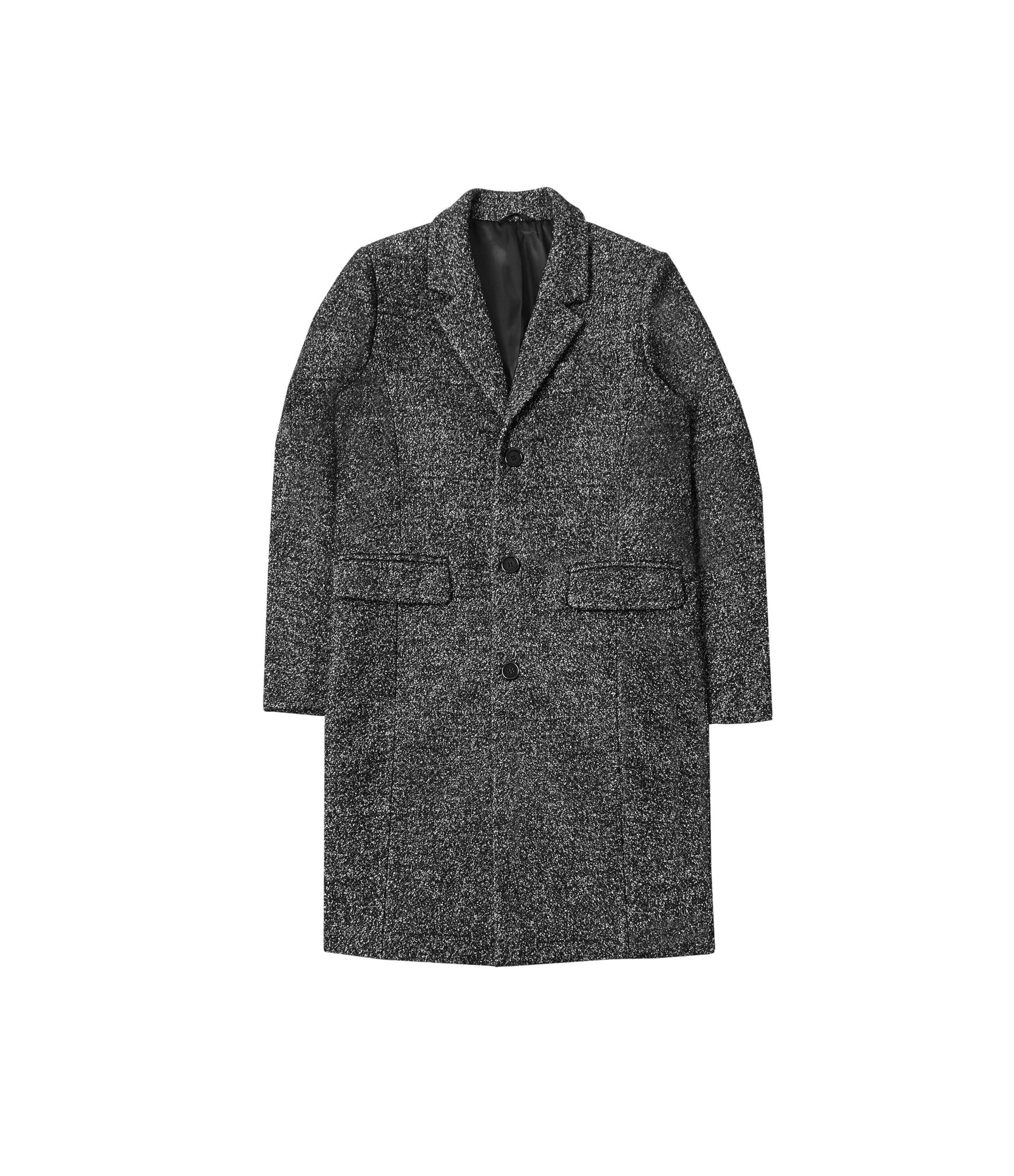 JK212 Mélange Wool Blend Overcoat - Black - underated london - underatedco - 2