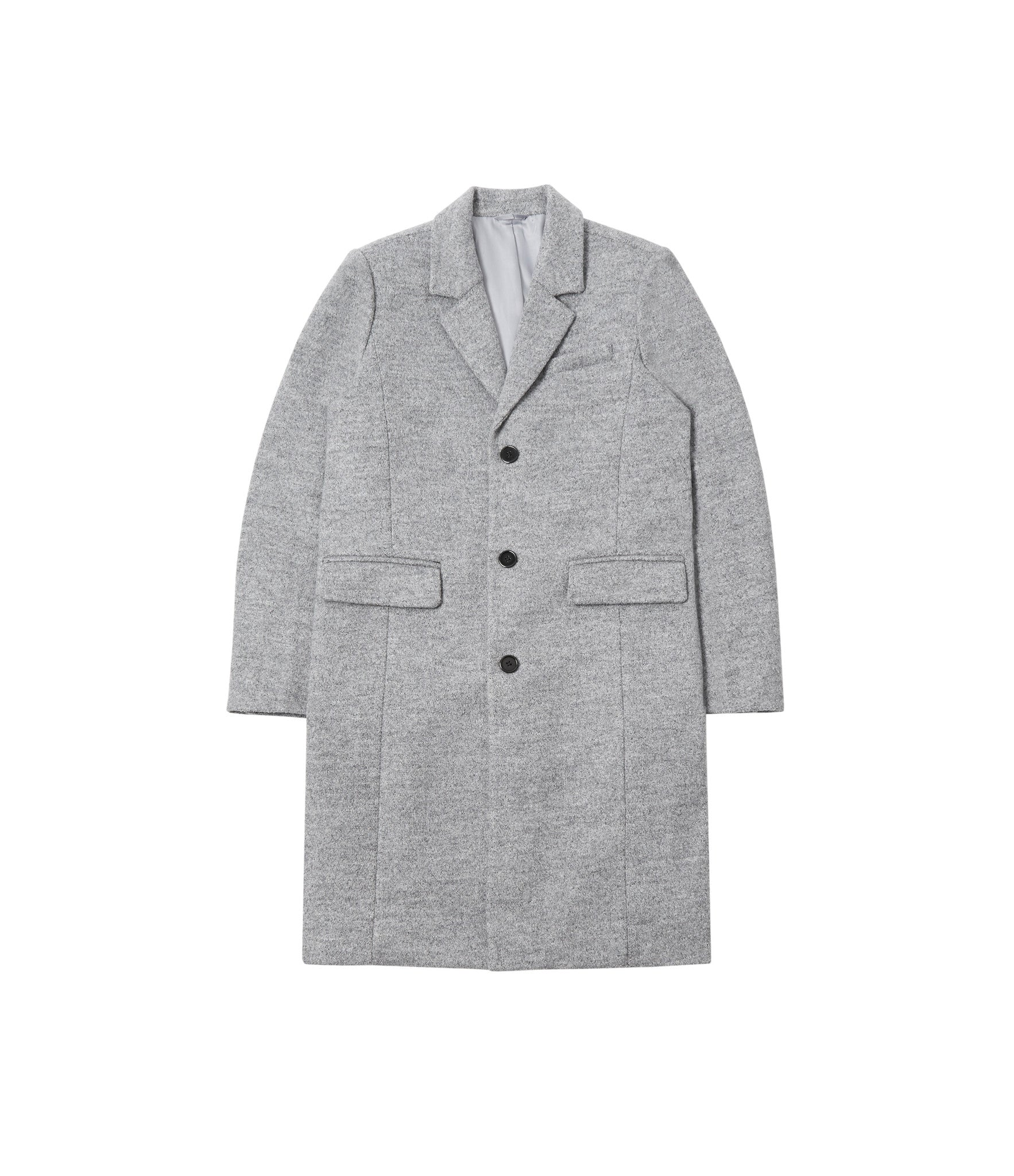 JK212 Mélange Wool Blend Overcoat - Grey - underated london - underatedco - 2
