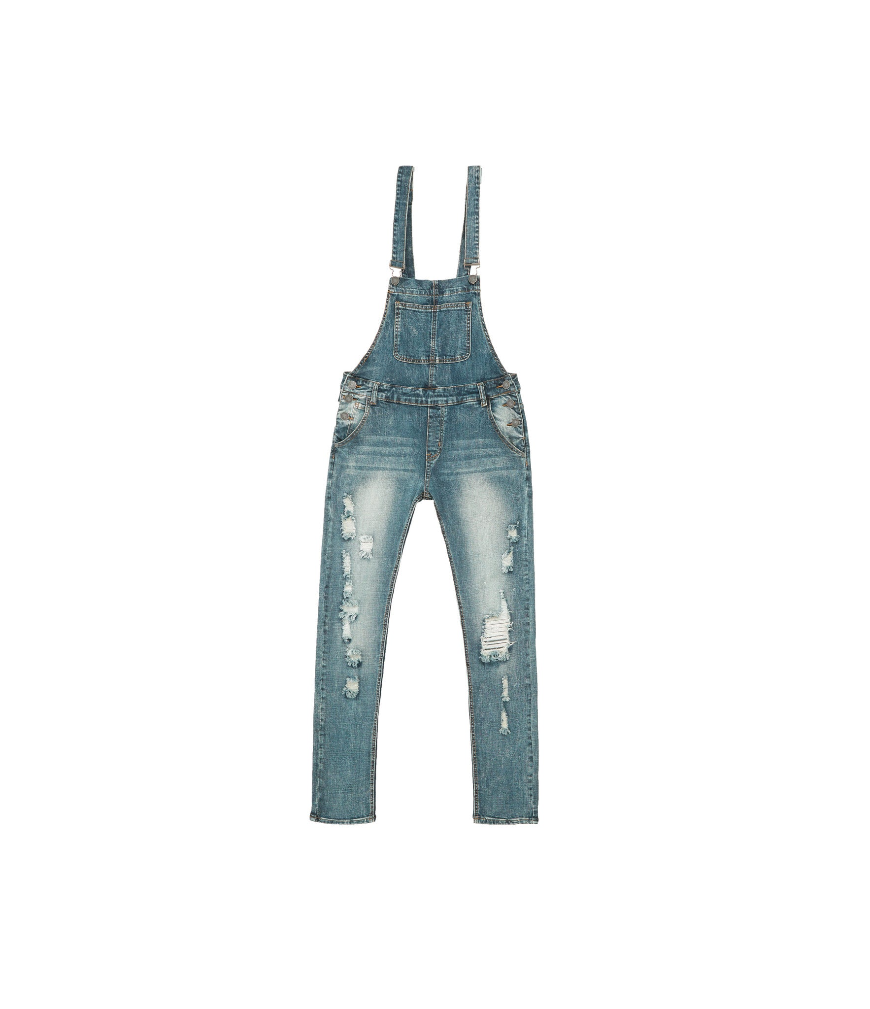 JN181 Distressed Stone Wash Dungaree Denim - Mid Blue - underated london - underatedco - 1