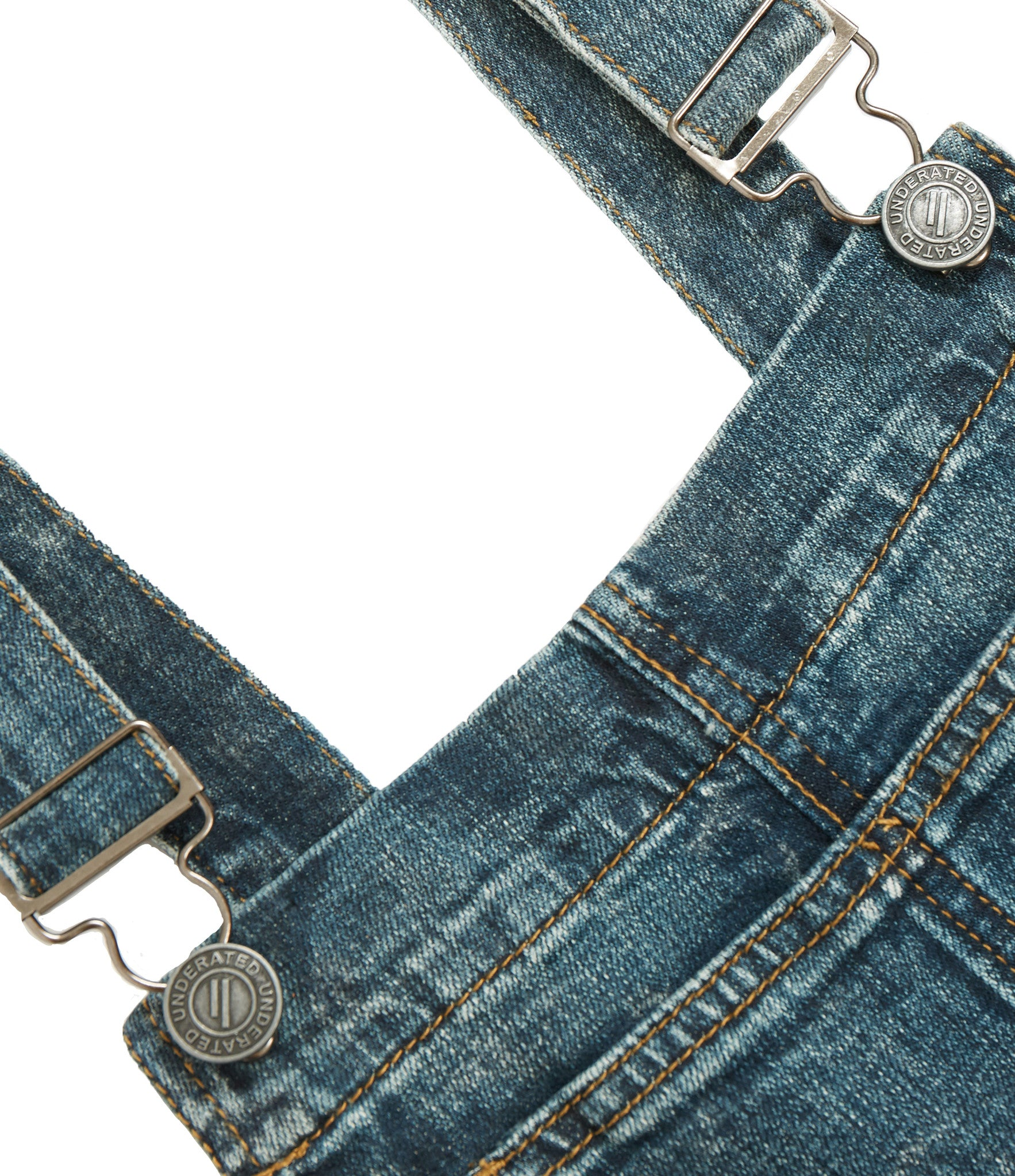JN181 Distressed Stone Wash Dungaree Denim - Mid Blue - underated london - underatedco - 4