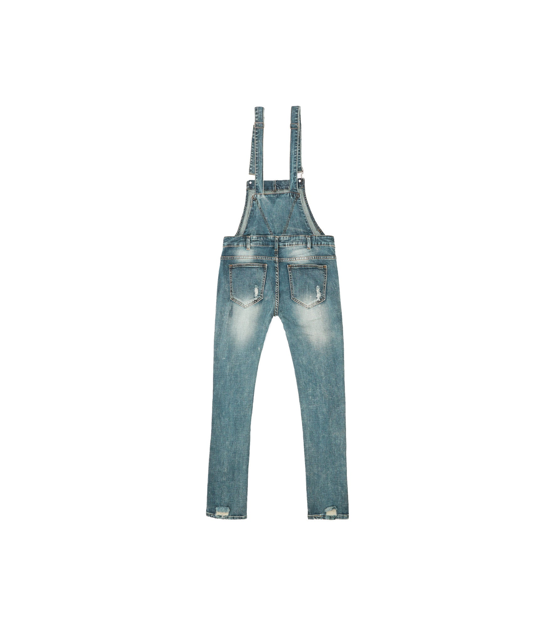 JN181 Distressed Stone Wash Dungaree Denim - Mid Blue - underated london - underatedco - 2