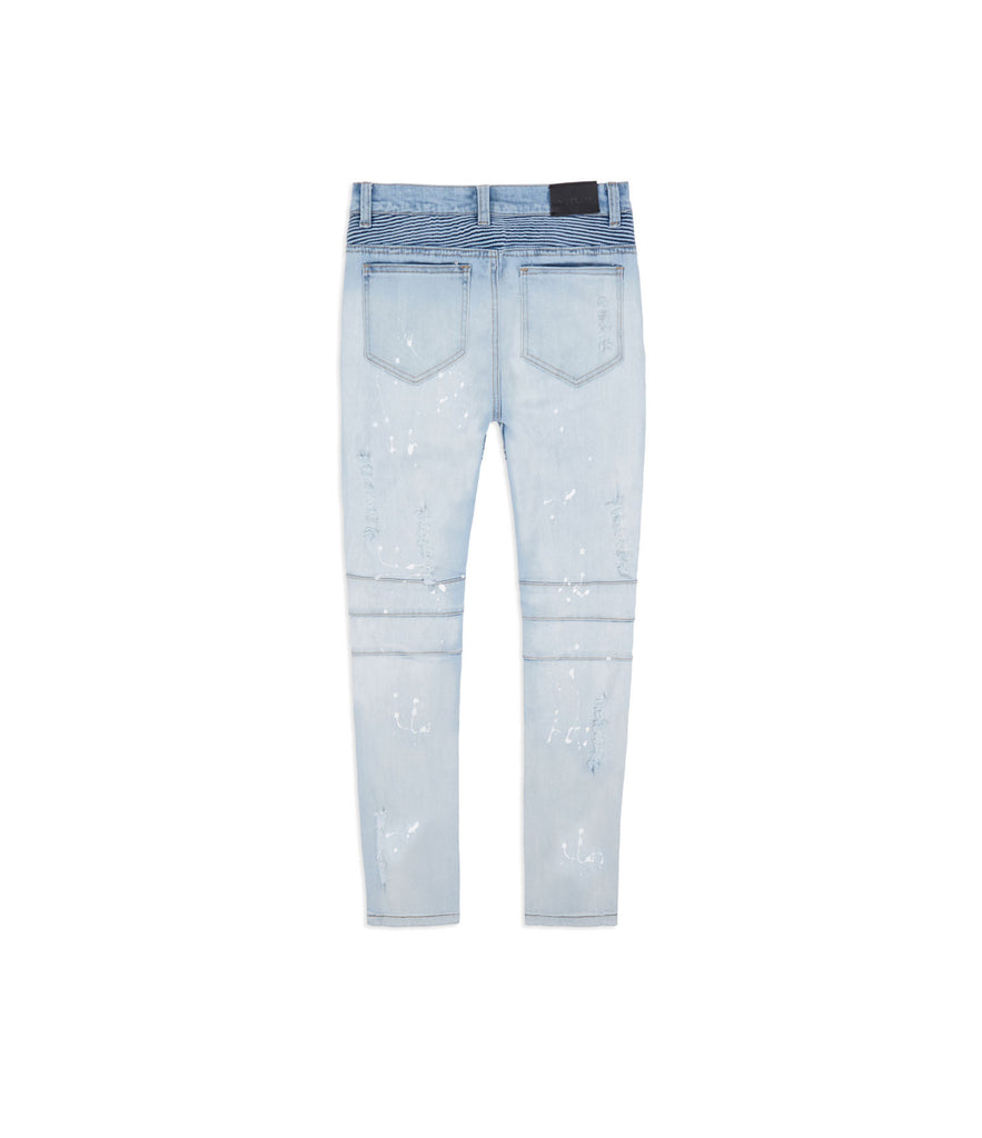 JN152 Distressed Acid Wash Paint Splatter Biker Denim - Light Blue - UNDERATED