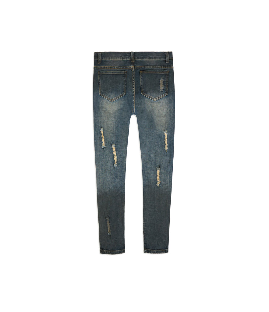 JN151 Distressed Sandblast Wash Denim - Deep Indigo - UNDERATED