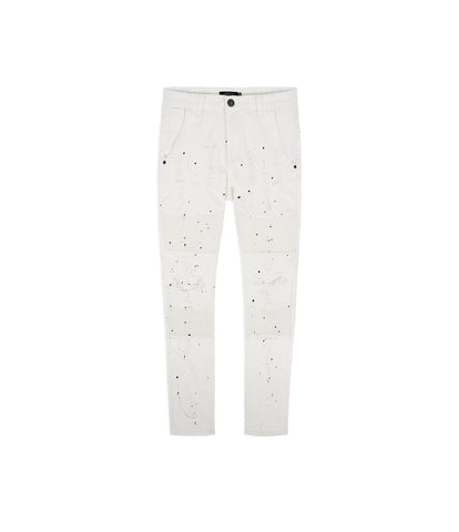 JN152 Distressed Paint Splatter Biker Denim - White - UNDERATED