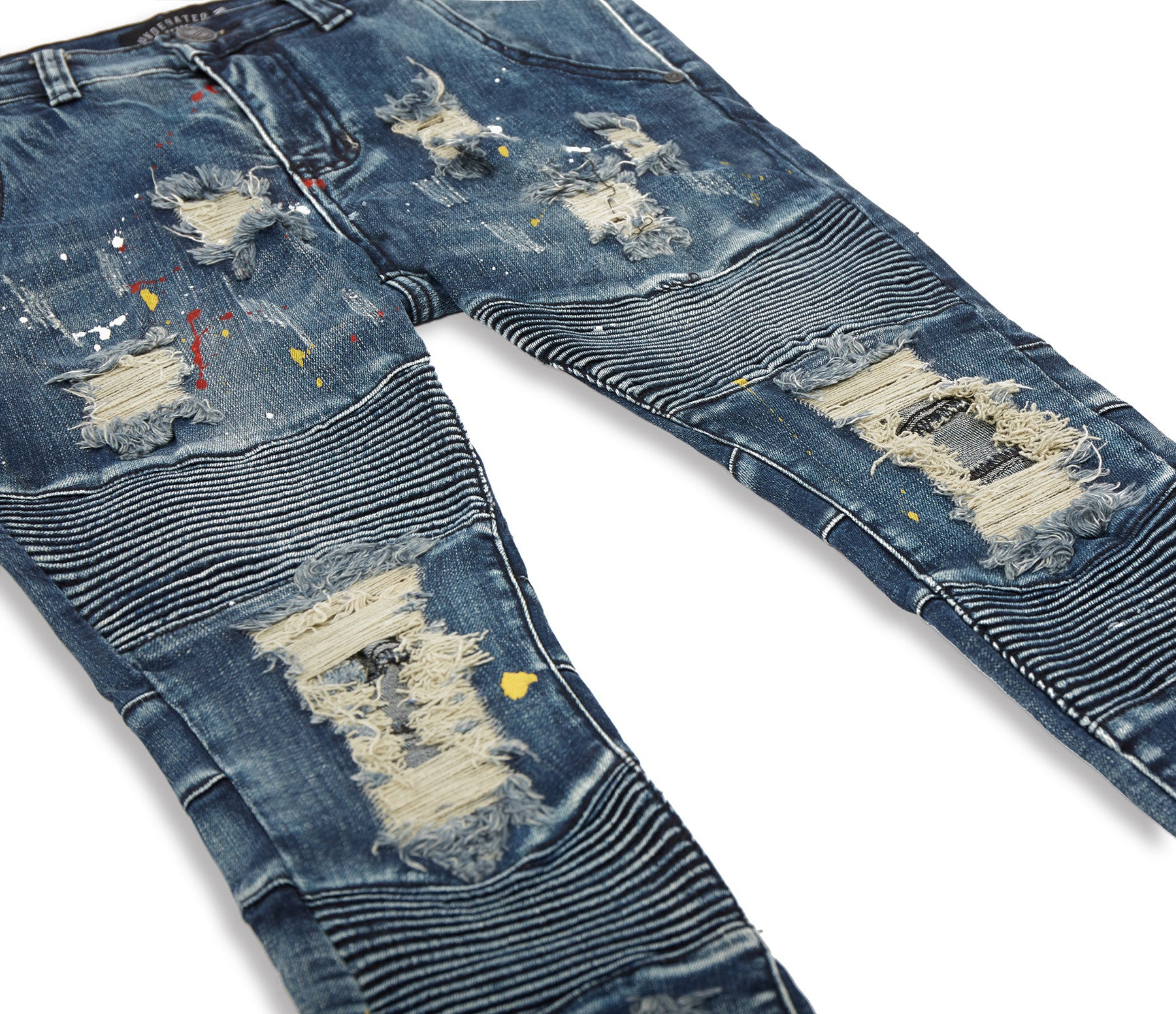 JN152 Distressed Paint Splatter Biker Denim - Indigo - underated london - underatedco - 10