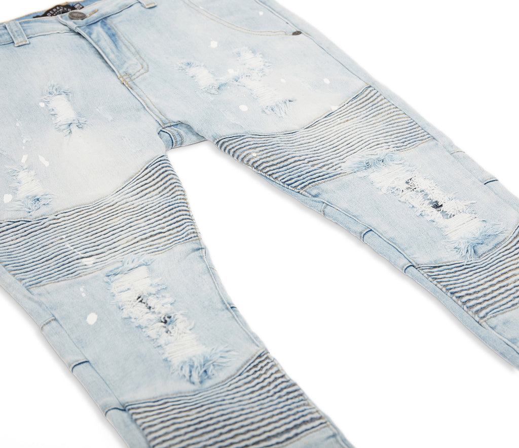 JN152 Distressed Paint Splatter Biker Denim - Light Blue - underated london - underatedco - 9