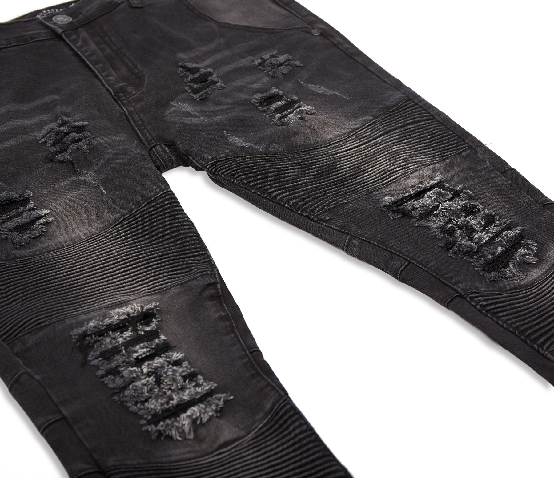 JN152 Distressed Stone Wash Biker Denim - Black - underated london - underatedco - 10