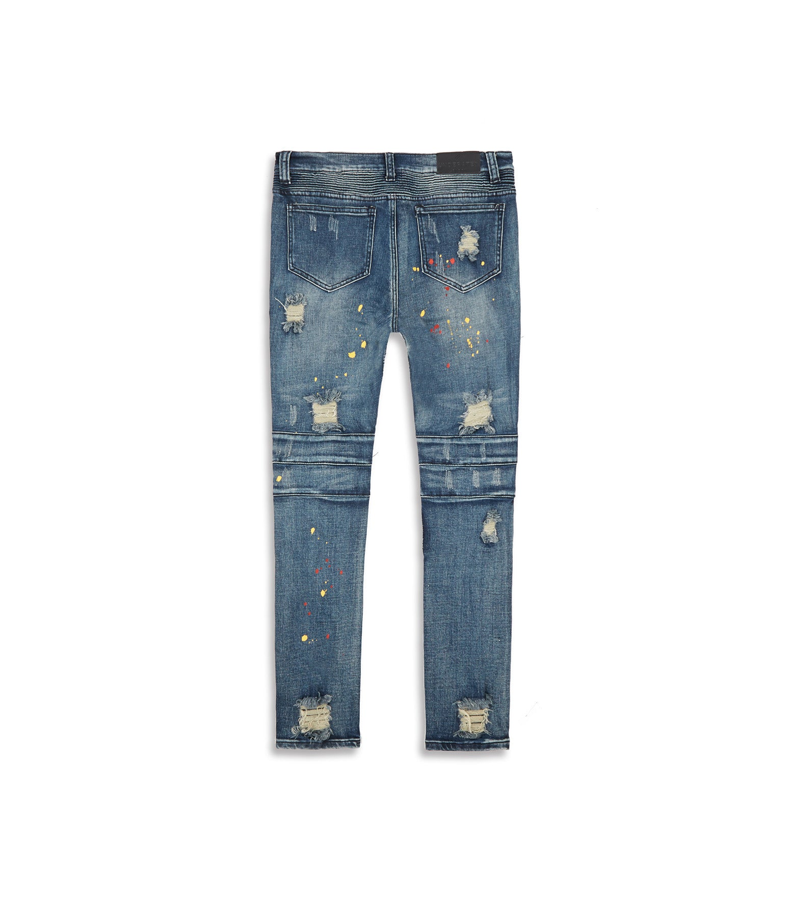 JN152 Distressed Paint Splatter Biker Denim - Indigo - underated london - underatedco - 12