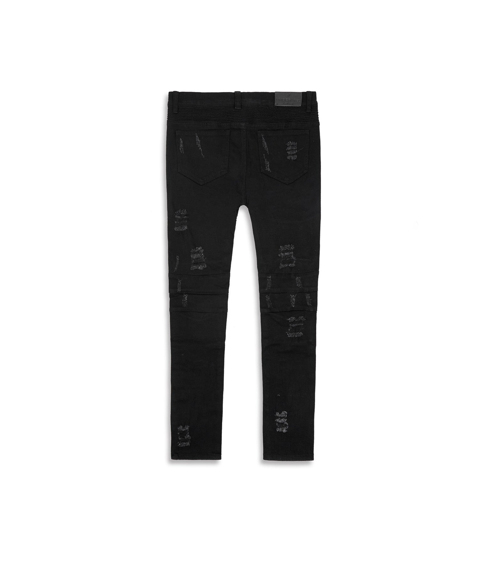 JN152 Distressed Biker Denim - Solid Black - underated london - underatedco - 12