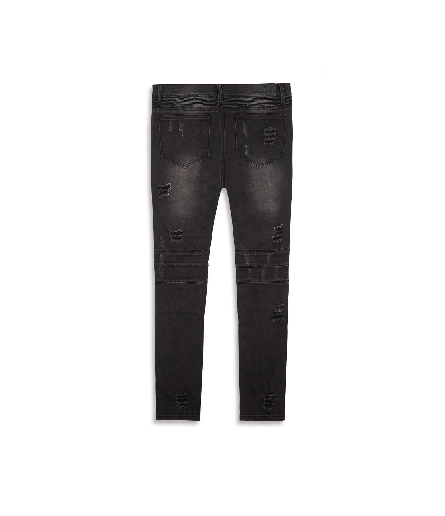 JN152 Distressed Stone Wash Biker Denim - Black - underated london - underatedco - 12