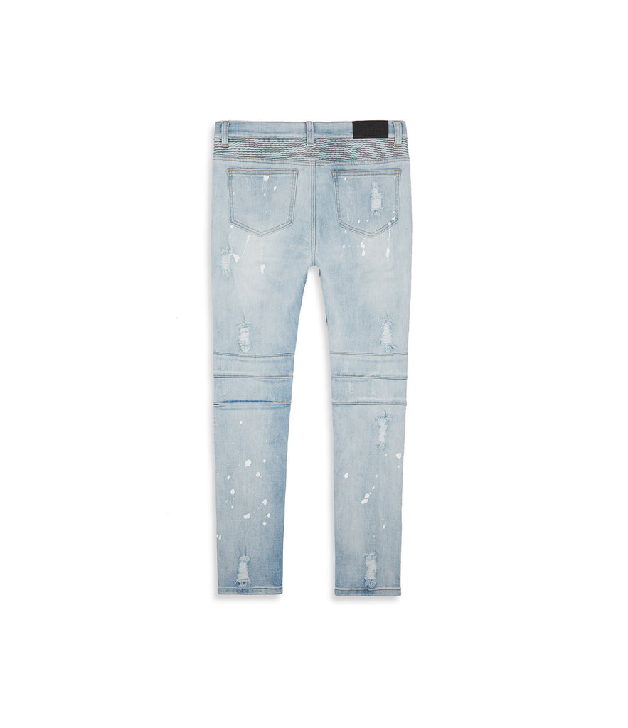 JN152 Distressed Paint Splatter Biker Denim - Light Blue - underated london - underatedco - 10