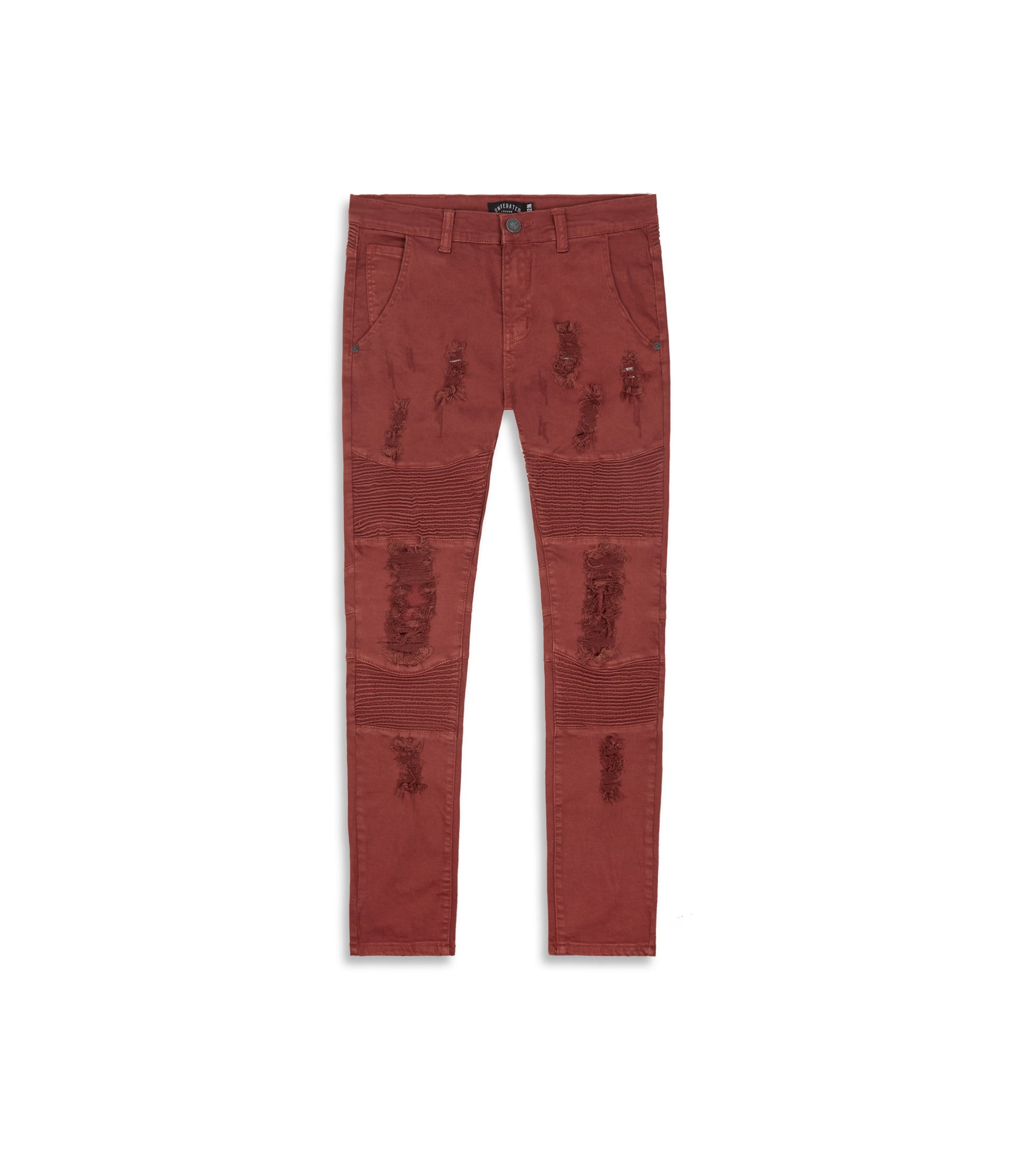 JN152 Distressed Biker Denim - Rust - underated london - underatedco - 8