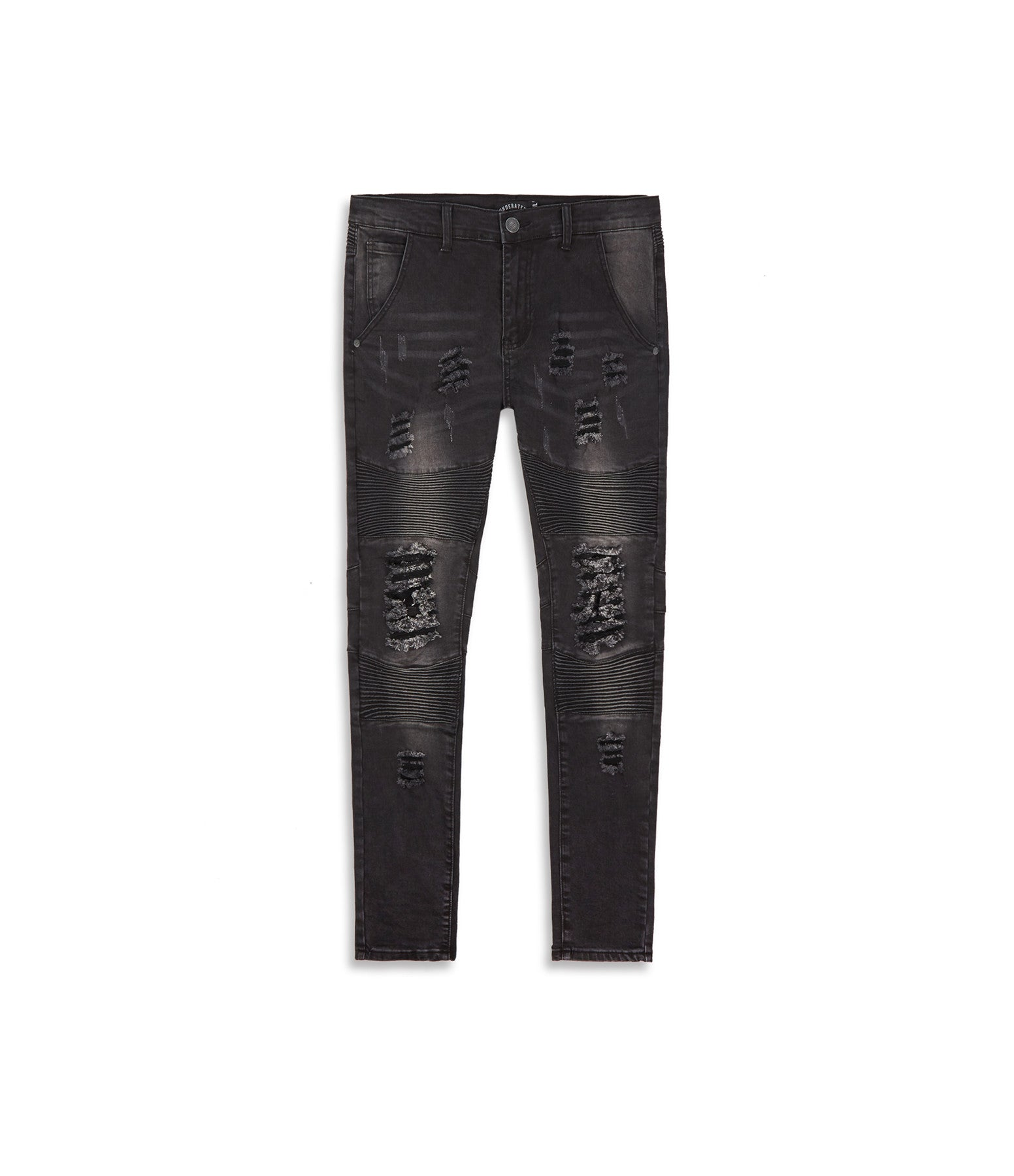 JN152 Distressed Stone Wash Biker Denim - Black - underated london - underatedco - 9