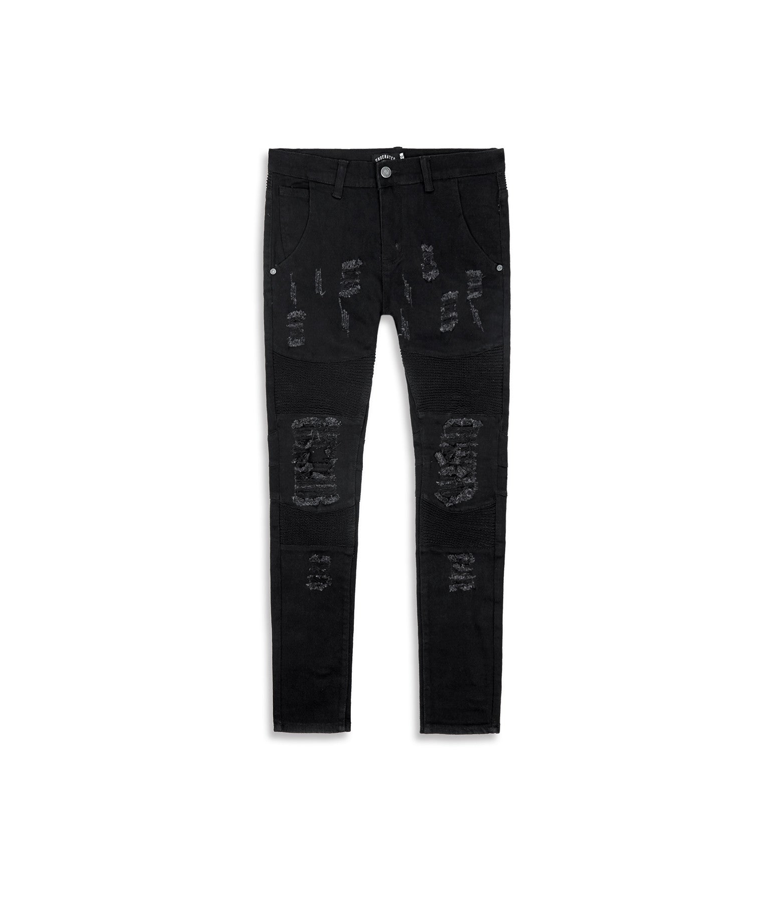 JN152 Distressed Biker Denim - Solid Black - underated london - underatedco - 9