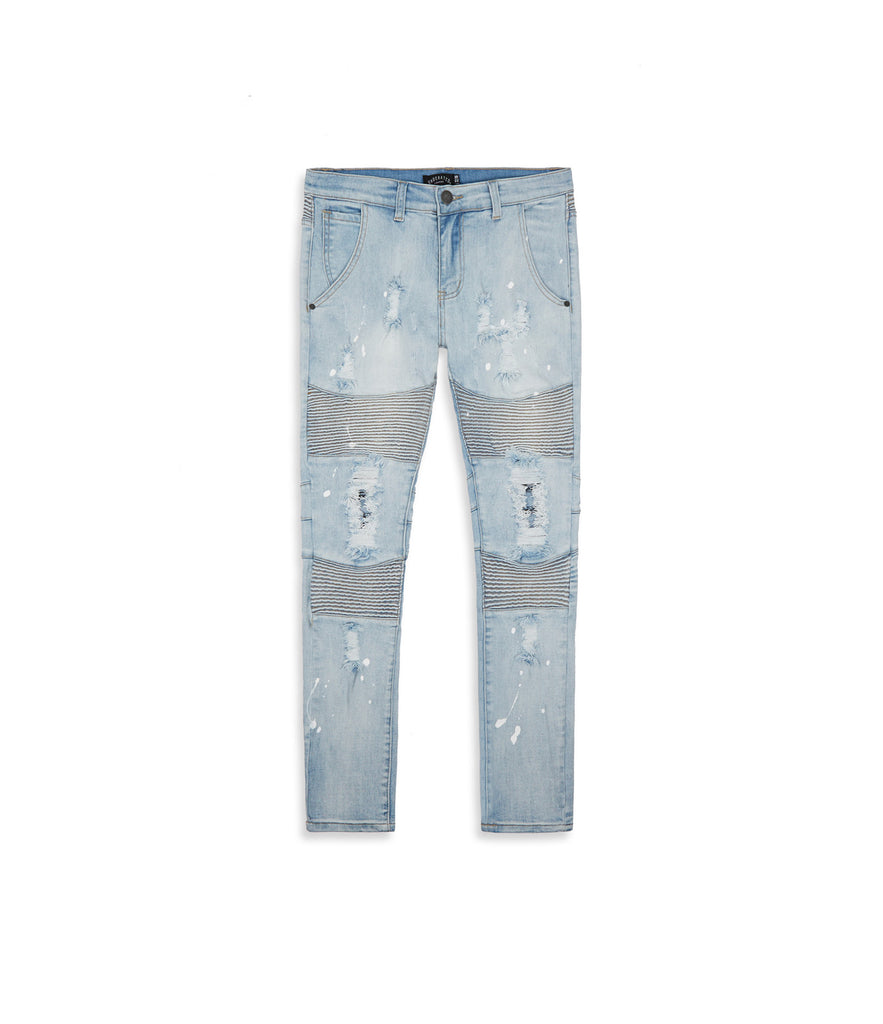 JN152 Distressed Paint Splatter Biker Denim - Light Blue - underated london - underatedco - 8