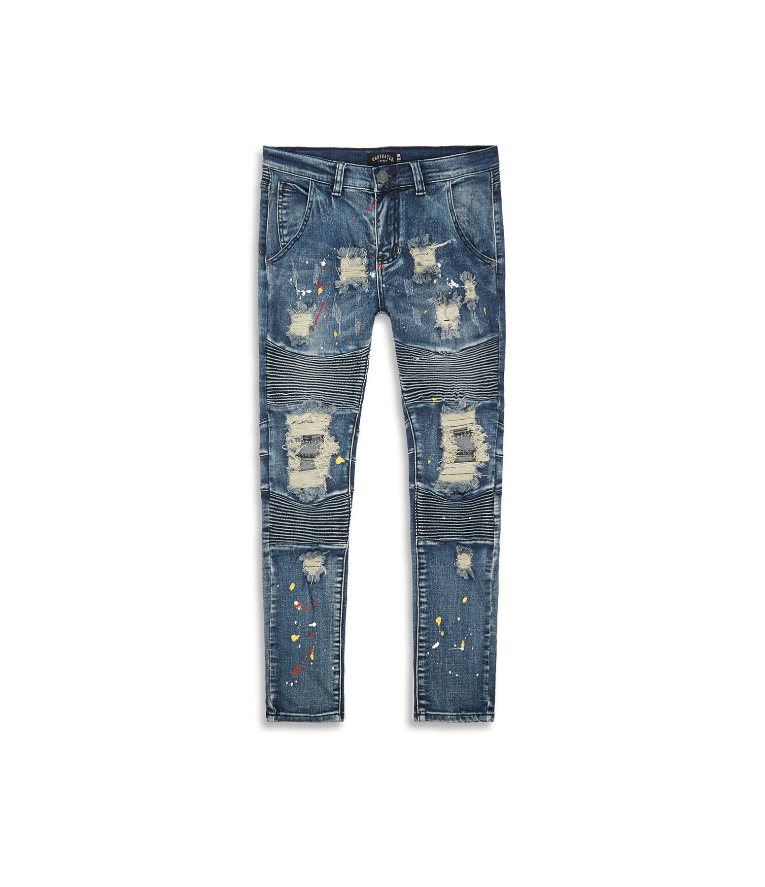 JN152 Distressed Paint Splatter Biker Denim - Indigo - underated london - underatedco - 9
