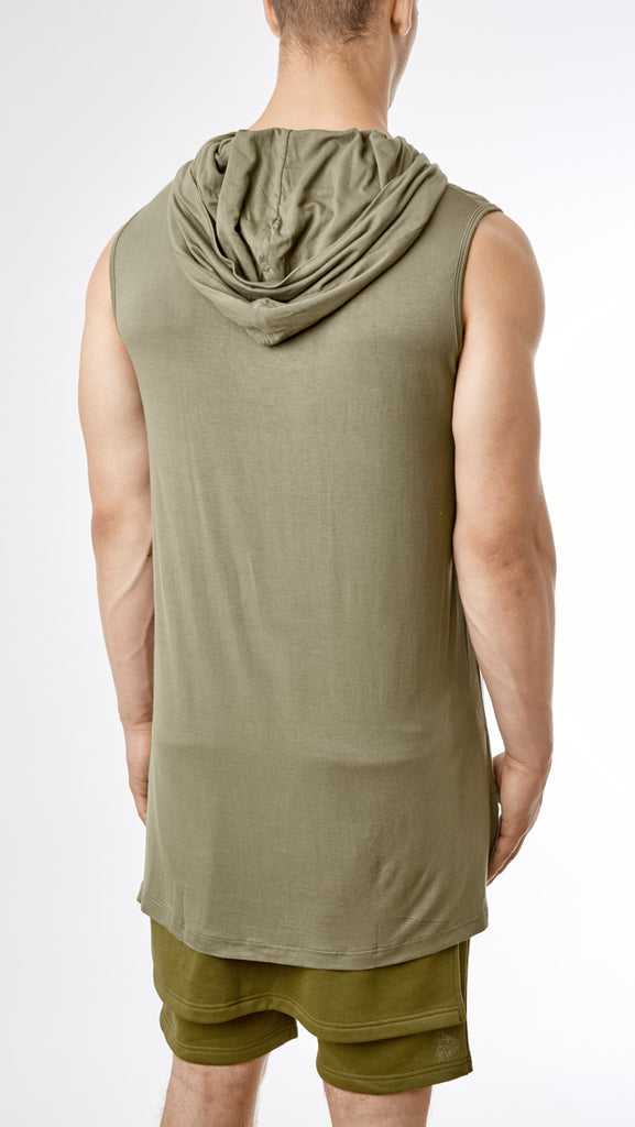 D12 Under Armour Hooded Muscle Tee - Khaki - UNDERATED
