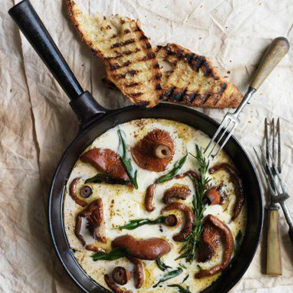 Creamy mushrooms served with life-changing loaf