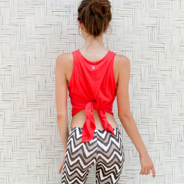 Paloma Tank tie up at the back with ikat print yoga pants