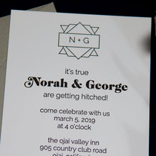 Load image into Gallery viewer, Hip, modern letterpress wedding invitation with a fancy, spiral 1970s font for the names and a simple custom monogrammed crest.