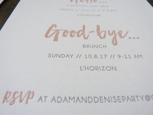 Modern letterpress wedding invitation suite with brush lettering, rose / blush and grey letterpress detail card