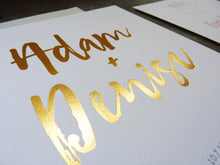 Load image into Gallery viewer, Modern letterpress wedding invitation with gold foil brush lettering detail shot