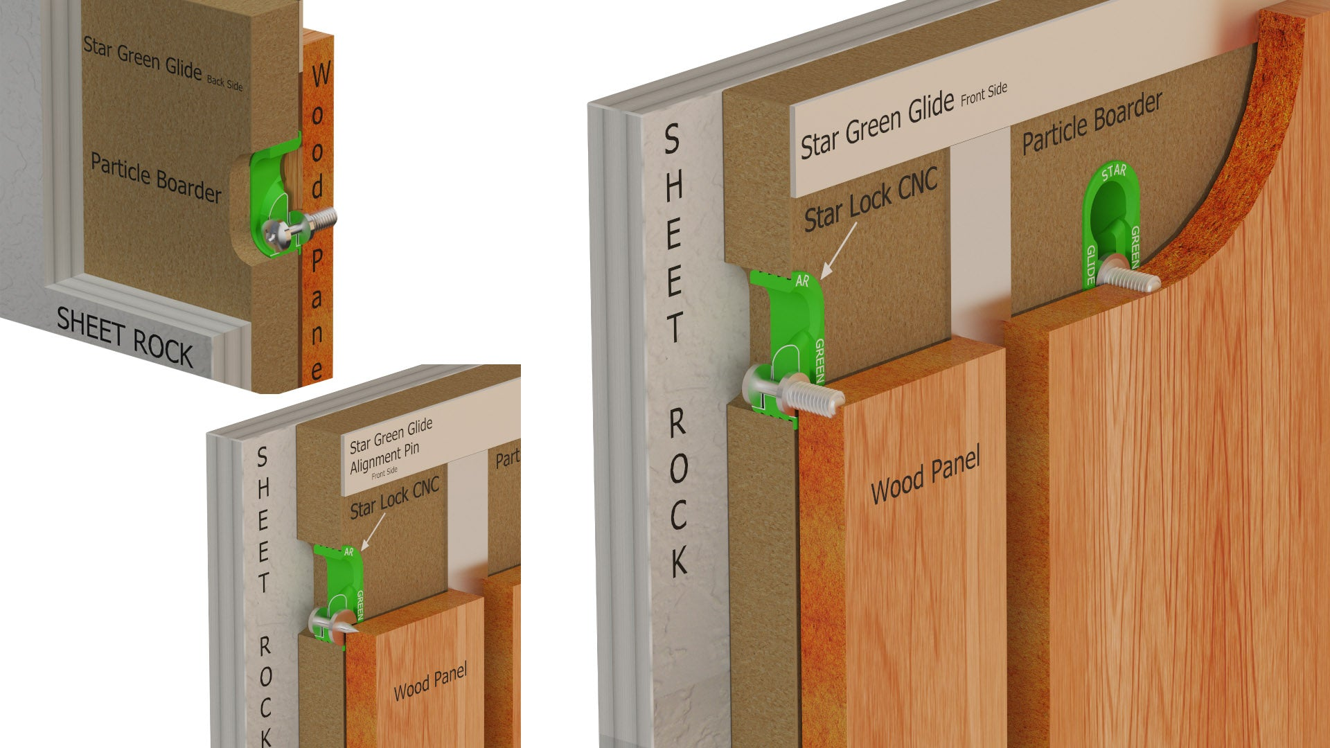 The Star Hanger Green Glide is a compact, high strength piece of concealed hardware that locks like a Z Clip. It can be used to mount wood panels to pre-engineered furring system.  The Green Glide is specifically designed to be machined with CNC router. This saves on site project time and precision.