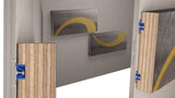 Star Hanger rendering of Star Zero & a Star Mounting Bolt used to install artwork directly onto sheetrock. The panels install by snapping the panels directly into place with zero reveal.