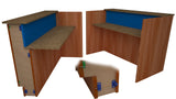 Star Hanger rendering of Star Zero Side Mount used to install fabric panels to the rib system of a reception desk. Fabric panels and tack panels can be  installed by snapping directly into place with no drop down space required, zero reveal.