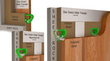 Rendering of The Star Green Glide Triangle used to install a wall panel onto wood furring.