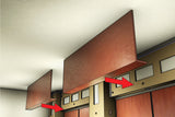 "Star Hanger rendering of Star Zero & Star Red Snaper used to install a preassembled wood soffit onto a preassembled ""L"" shaped furring system. The soffit installs by snapping the panels straight into place with zero reveal."