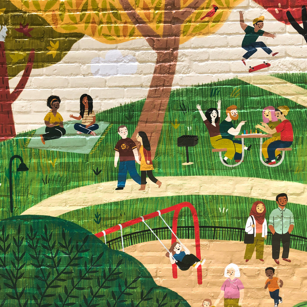 Section of mural with children and parents at a playground, a skateboarder, a group of friends at a picnic table playing a board game, a couple wearing Cleveland Cavaliers clothes, and two people sitting on a blanket talking