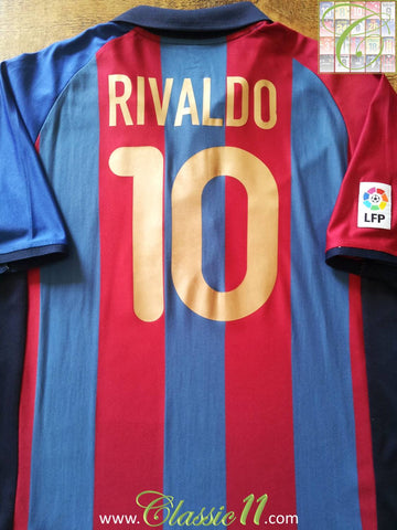 2001/02 Barcelona Home La Liga Football Shirt Rivaldo #10 (XL)