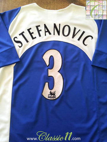 2005/06 Portsmouth Home Premier League Football Shirt Stefanovic #3 (S)