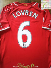 2014/15 Liverpool Home Premier League Shirt Lovren #6 (S)