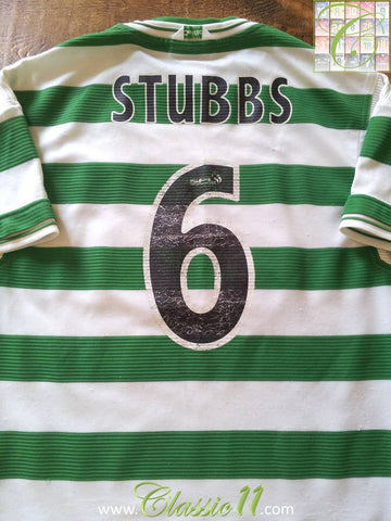 1999/00 Celtic Home SPL Football Shirt Stubbs #6 (L)