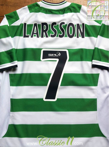 2001/02 Celtic Home SPL Football Shirt Larrson #7 (XL)